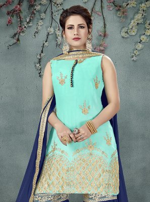 Off White Embroidered Art Silk Designer Palazzo Salwar Suit