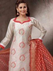 Off White Embroidered Banarasi Silk Churidar Designer Suit