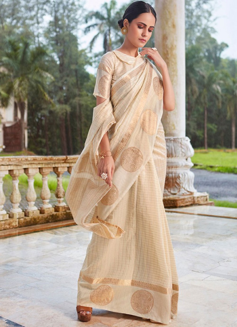 Off White Embroidered Ceremonial Designer Traditional Saree