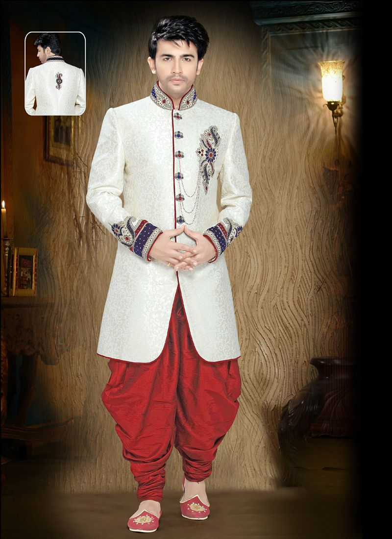 Off White Embroidered Ceremonial Indo Western