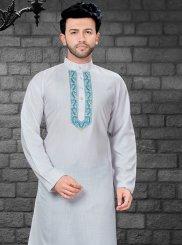 Off White Embroidered Ceremonial Kurta Pyjama