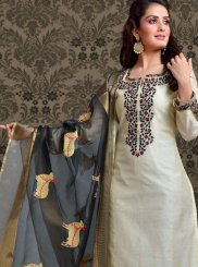 Off White Embroidered Churidar Salwar Kameez