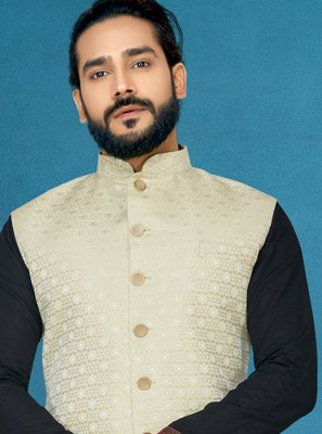 Off White Embroidered Jacquard Nehru Jackets