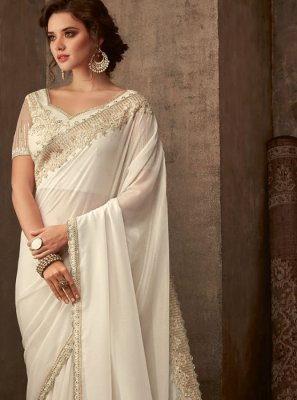 Off White Embroidered Silk Trendy Saree