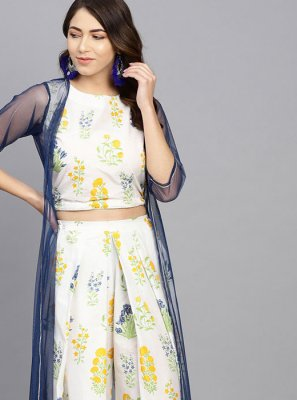 Off White Floral Print Casual Kurti