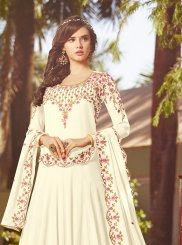 Off White Georgette Anarkali Salwar Kameez