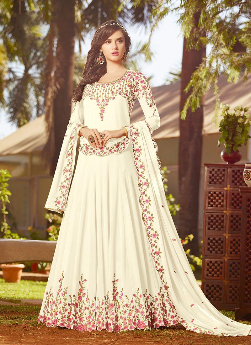 Off White Georgette Anarkali Salwar Kameez