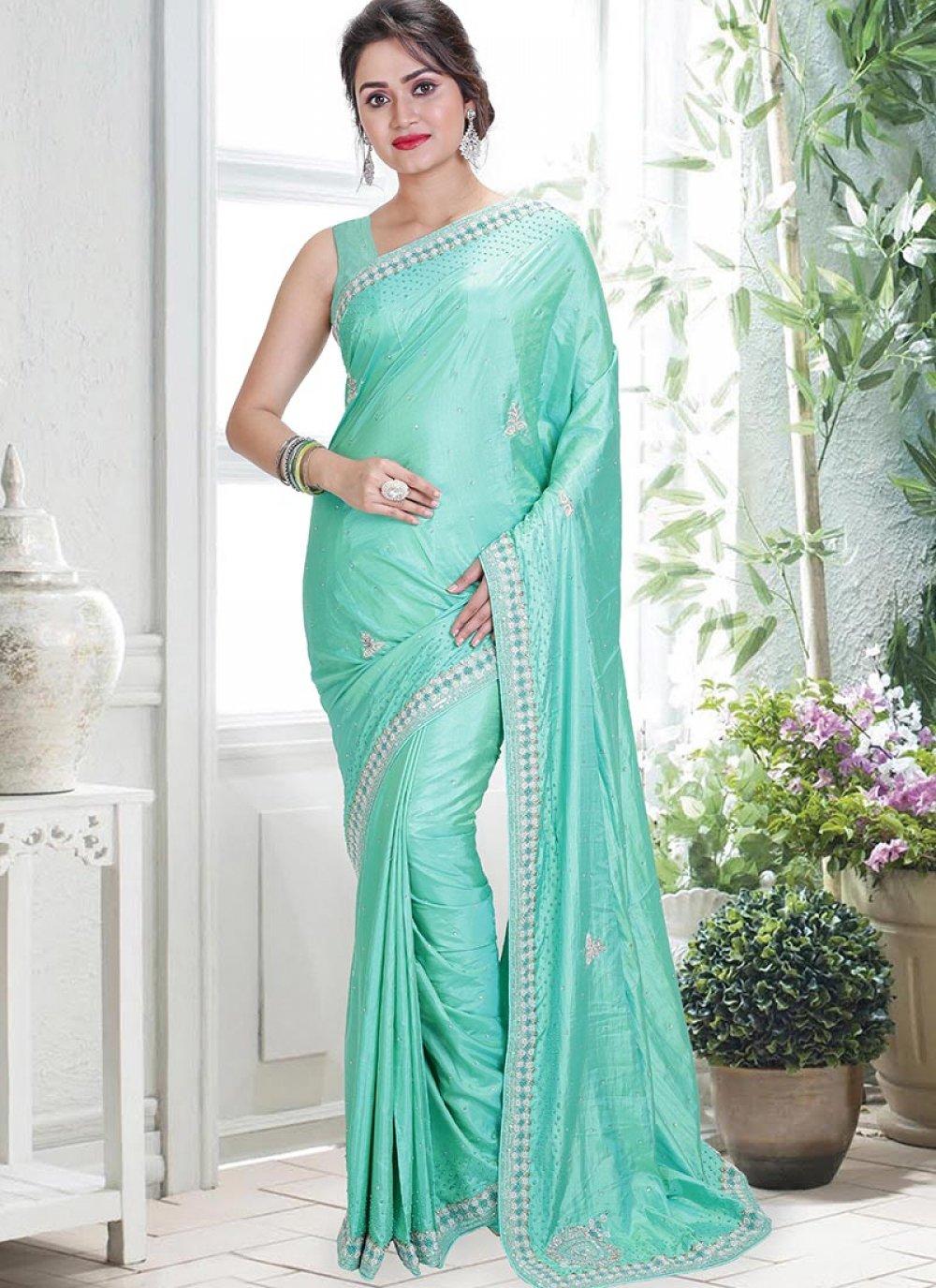 Off White Handwork Art Silk Designer Saree