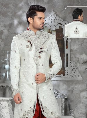 Off White Jacquard Ceremonial Indo Western