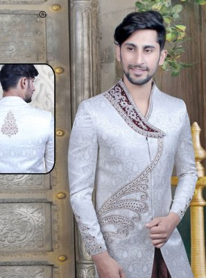 Off White Mehndi Art Dupion Silk Sherwani