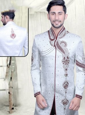 Off White Mehndi Sherwani