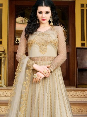 Off White Net Designer Salwar Suit