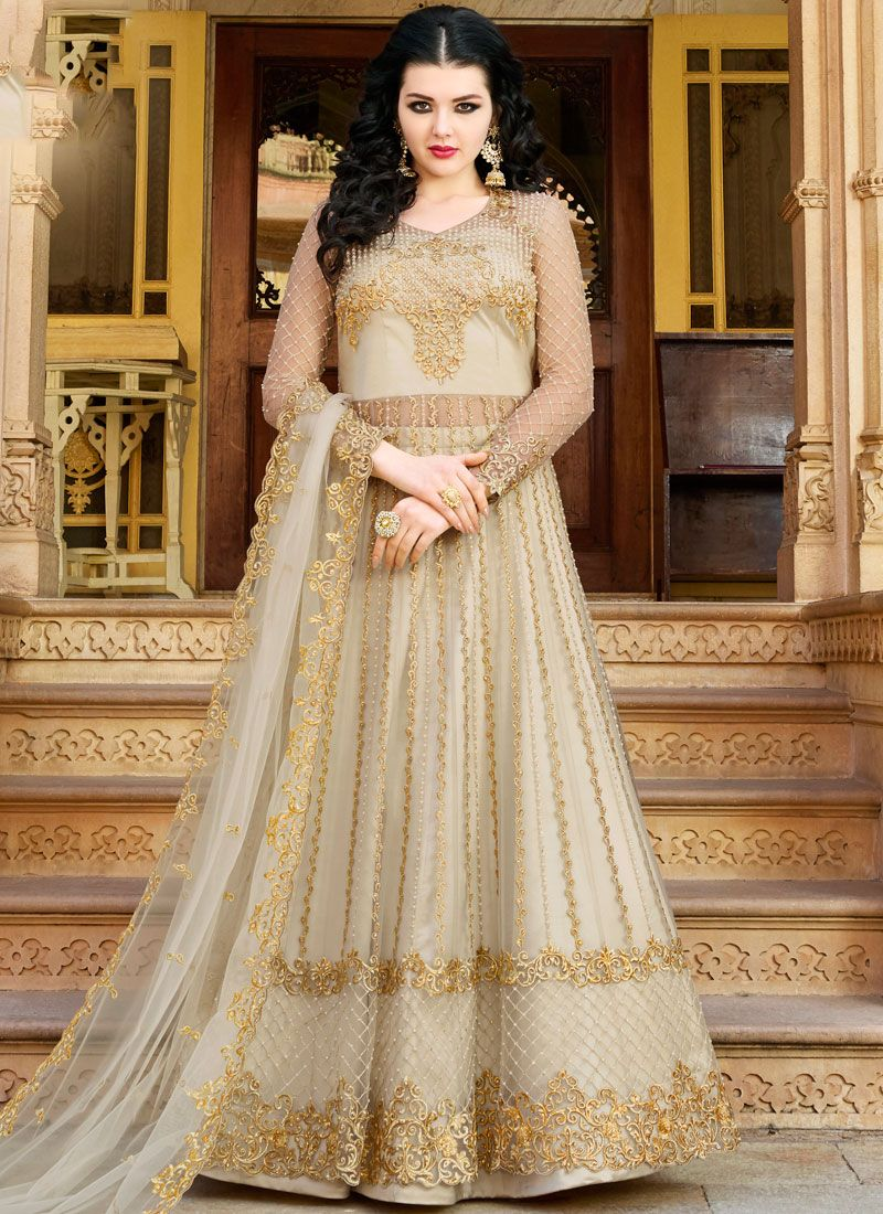 Off White Net Designer Salwar Suit
