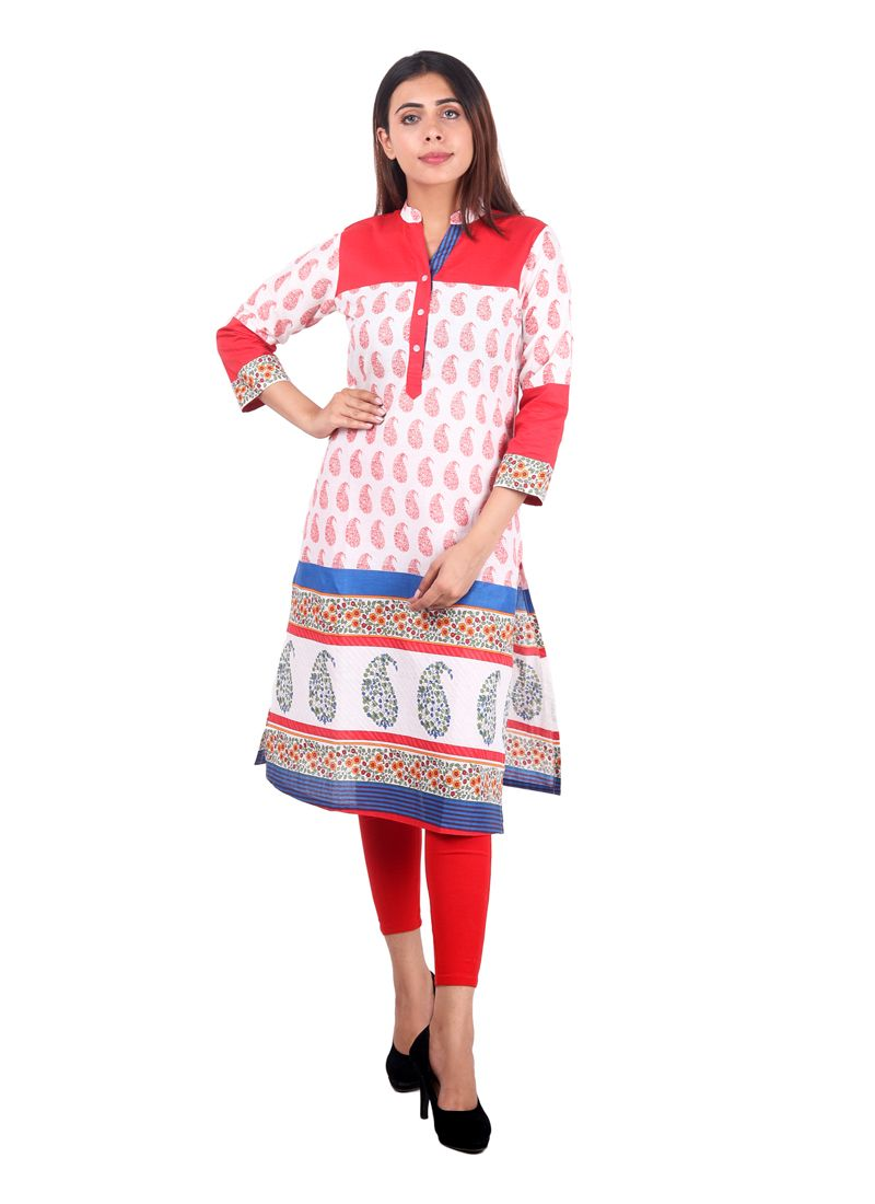Off White Plain Casual Kurti