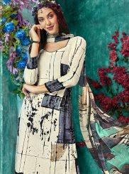 Off White Printed Faux Crepe Salwar Kameez