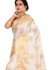 Off White Sangeet Art Banarasi Silk Designer Traditional Saree