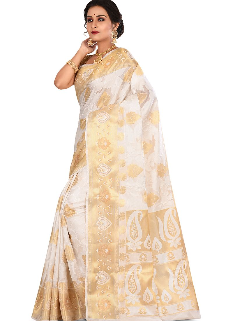 Off White Sangeet Art Banarasi Silk Designer Traditional Saree