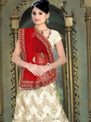 Off White Sequins Satin Silk Trendy Lehenga Choli