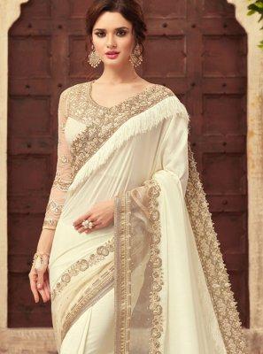 Off White Silk Classic Saree