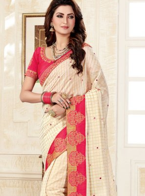 Off White Weaving Classic Saree