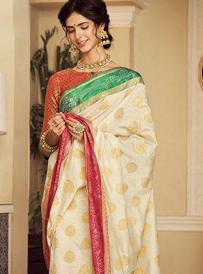 Off White Weaving Classic Saree