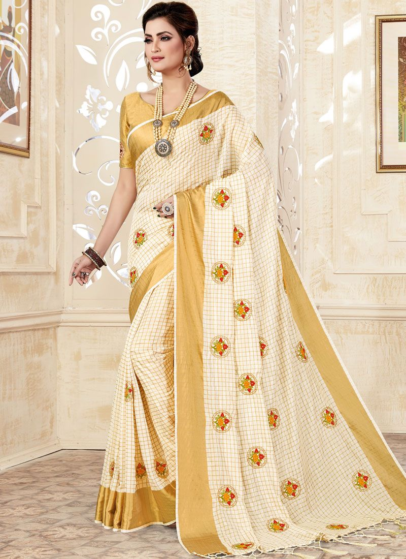 Off White Weaving Uppada Silk Classic Saree