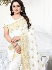 Off White Zari Party Traditional Saree