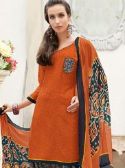 Orange Abstract Print Casual Punjabi Suit