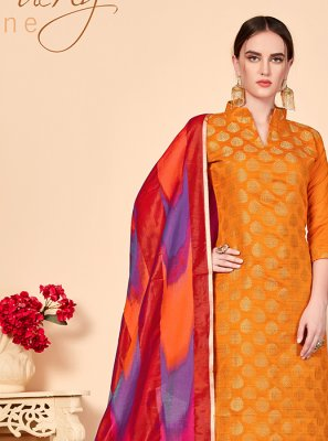 Orange Abstract Print Churidar Salwar Kameez