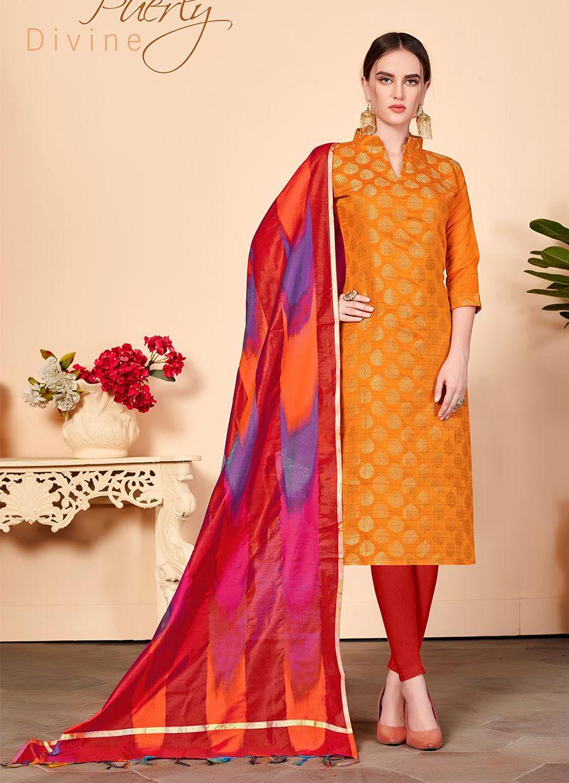 Orange Abstract Print Churidar Salwar Kameez