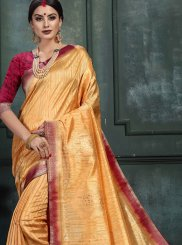 Orange Abstract Print Designer Saree