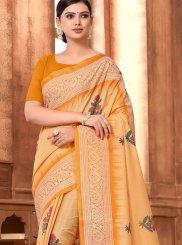 Orange Abstract Print Printed Saree