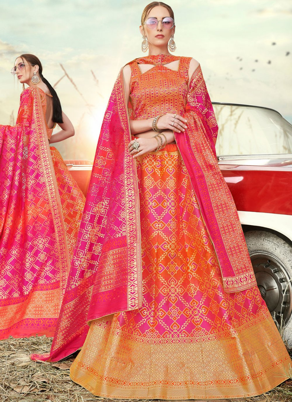 Orange and Pink Banarasi Silk A Line Lehenga Choli
