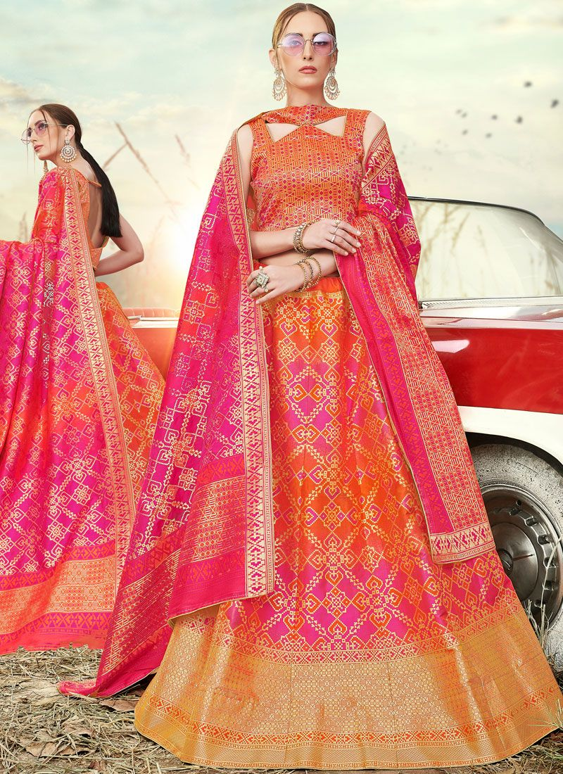 Orange and Pink Banarasi Silk A Line Lehenga Choli