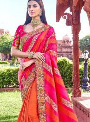 Orange and Pink Banarasi Silk Patch Border Traditional Saree