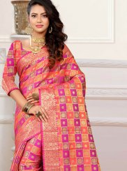 Orange and Pink Classic Designer Saree