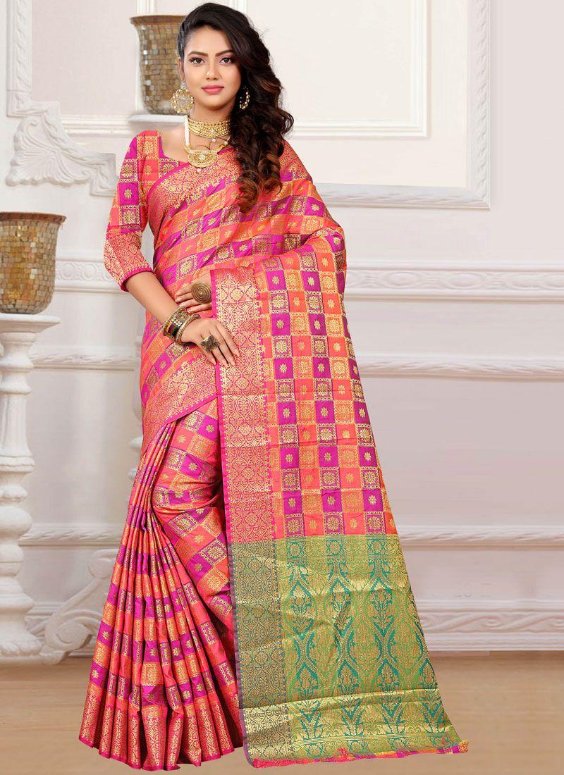 Orange and Pink Classic Designer Saree