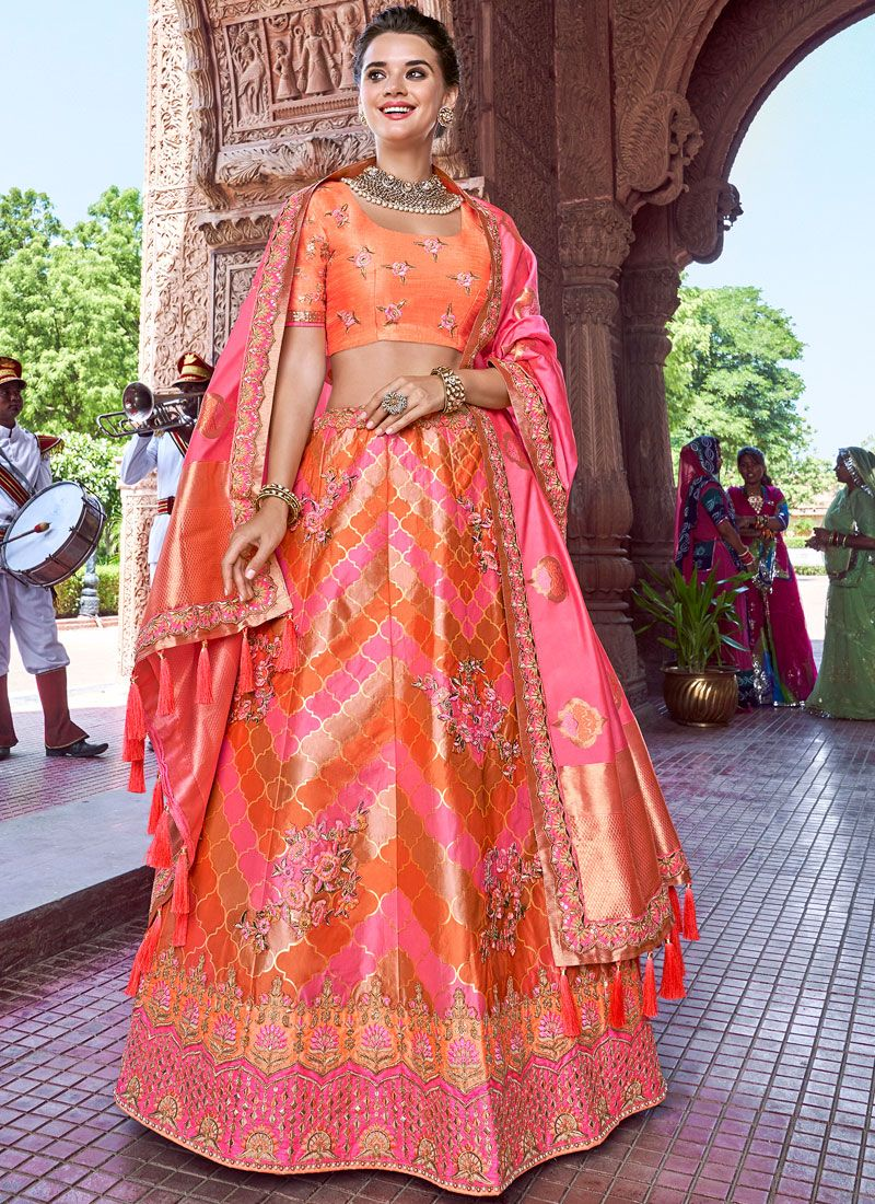 Orange and Pink Embroidered Banarasi Silk A Line Lehenga Choli