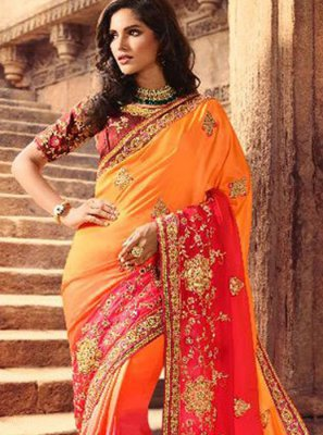 Orange and Pink Embroidered Silk Classic Saree