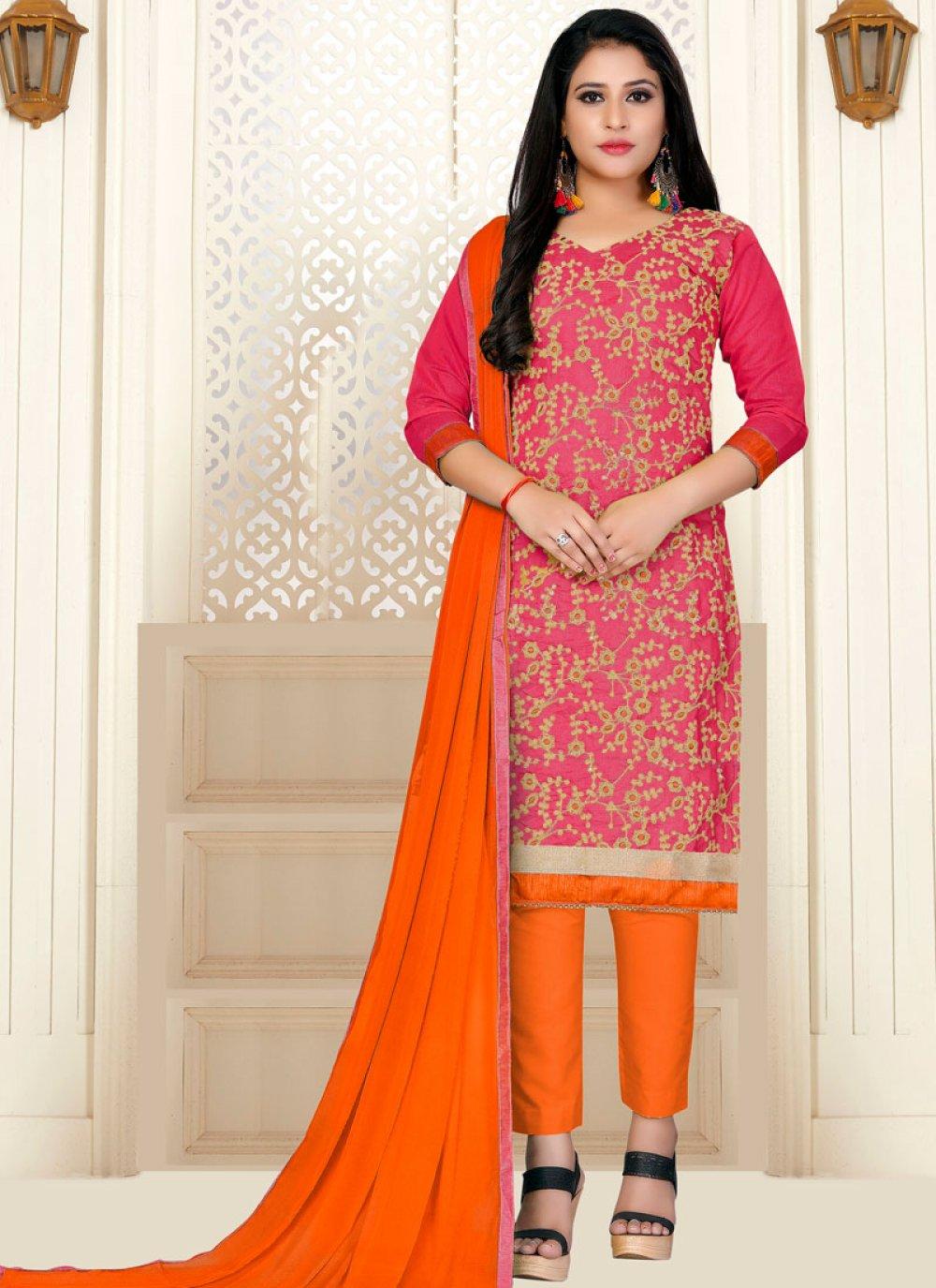 Orange and Pink Festival Designer Straight Suit