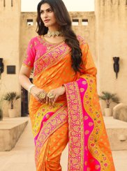Orange and Pink Weaving Festival Silk Saree