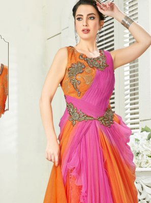 Orange and Pink Wedding Readymade Gown