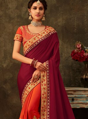 Orange and Purple Embroidered Wedding Designer Half N Half Saree