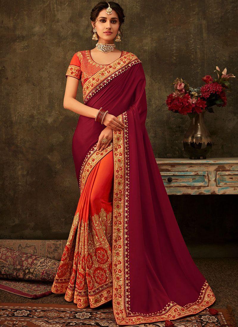 Orange and Purple Embroidered Wedding Designer Half N Half Saree