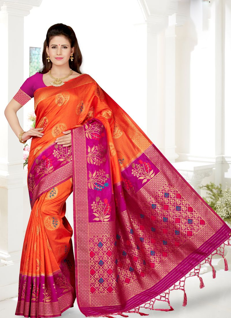 Orange and Rani Embroidered Traditional Saree