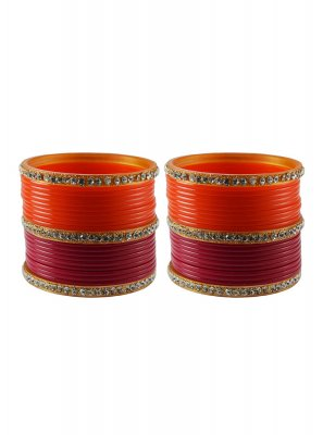 Orange and Rani Stone Work Reception Bangles