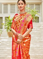 Orange and Red Art Silk Designer Saree