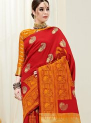 Orange and Red Color Designer Half N Half Saree