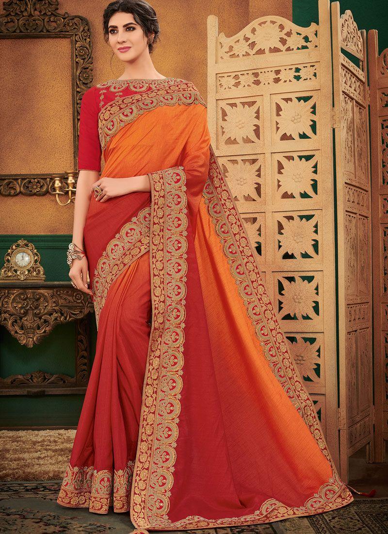 Orange and Red Festival Art Silk Shaded Saree