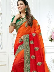 Orange and Red Patch Border Shaded Saree